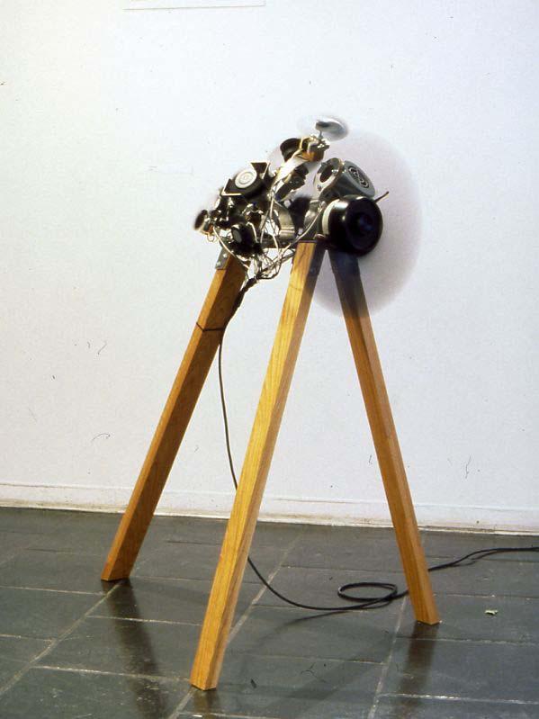 """Cortex Vortex"". Wood, steel, fans, foot pedal."